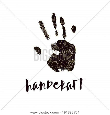 The modern trend. Handcraft logo. Pattern of contour maps design and a trace human hand. Silhouette of a hand print with a topographic map. Yellow and black color. Mapping logotype.