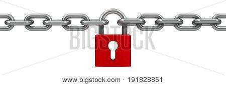Chain with red lock - security concept three-dimensional rendering 3D illustration