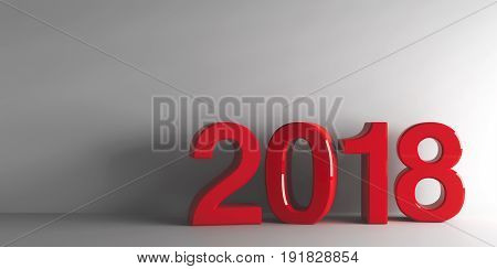 Red 2018 on grey background represents the new year 2018 three-dimensional rendering 3D illustration