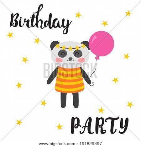 Happy Birthday Greeting Card. Cute Postcard With Funny Little Panda. Cartoon Animals