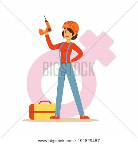 Confident woman in workwear and hard hat holding a drill, female taking on traditional male role colorful character vector Illustration on background of a female pink gender symbol