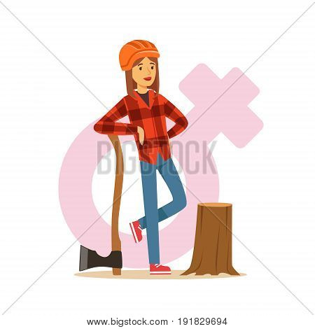Woman lumberjack in workwear and hard hat standing near stump with axe, female taking on traditional male role colorful character vector Illustration on background of a female pink gender symbol