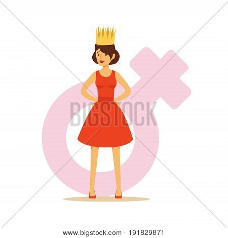 Confident woman in a red dress and gold crown, colorful character vector Illustration on background of a female pink gender symbol