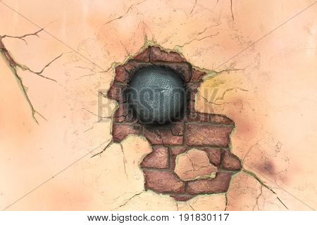 Applique cannonball stuck and ruined the wall