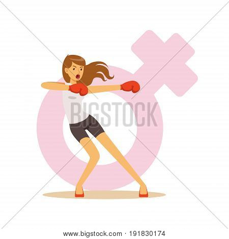 Angry woman boxing wearing boxing gloves, feminism colorful character vector Illustration on background of a female pink gender symbol