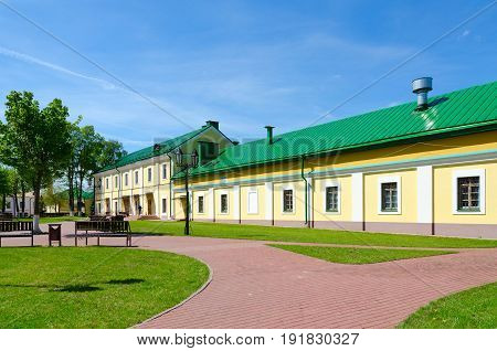 POLOTSK BELARUS - MAY 19 2017: Complex of buildings of former Jesuit collegium (now - Polotsk State University) on Streletskaya Street