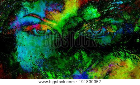 Woman eyes in cosmic background. Eye contact. Glass effect