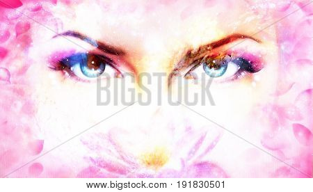 Woman eyes and lotus flower in cosmic background. Eye contact
