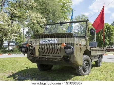 Rostov-on-Don Russia - May 212017: LuAZ-967 is an all-wheel-drive floating vehicle with a particularly light load.