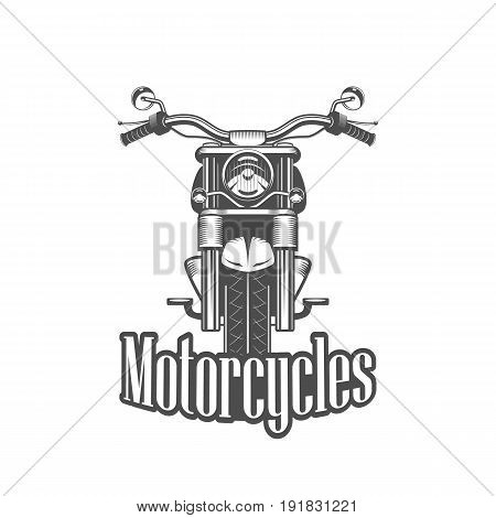 Chopper motorcycle front side isolated on white background black and white vector illustration.