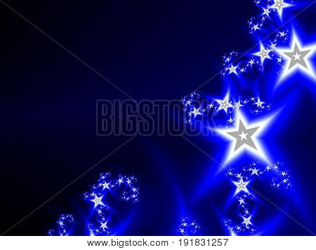 Abstract cosmic deep blue background with bright stars. Bokeh effect. Festive, glowing sparkle illustration.