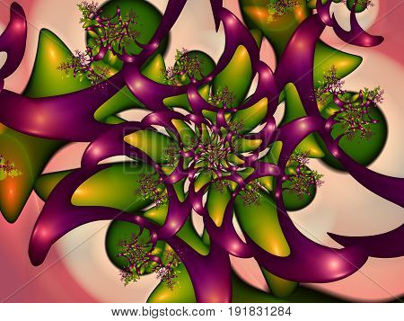 Abstract background. Surrealistic wallpaper. Metamorphized flowery design