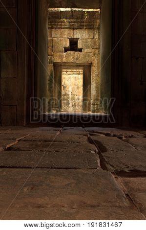 Corridor in an Ankor Wat temple in siem Reap
