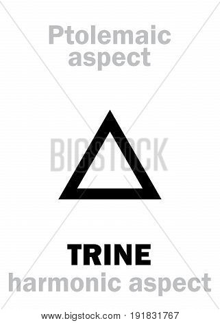 Astrology Alphabet: TRINE (120 deg.), classic major Ptolemaic harmonic aspect. Hieroglyphics character sign (single symbol).