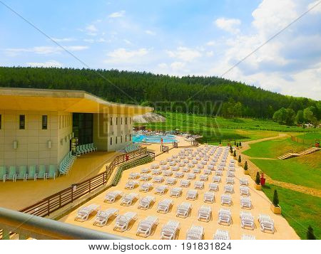 Egerszalok, Hungary - September 27, 2015: Saliris resort. The Egerszalok spa pools contain water rich in calcium, magnesium, and hydrocarbonate minerals.
