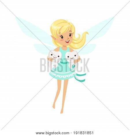 Beautiful sweet smiling blonde Tooth Fairy girl flying and holding two teeth colorful cartoon character vector Illustration isolated on a white background