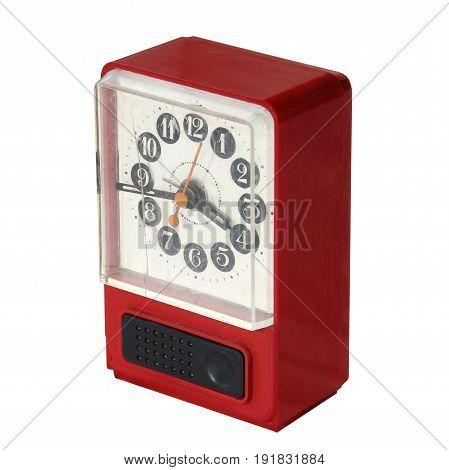 Vintage Broken Alarm Clock Isolated On White Background