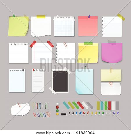 Note post paper set collection . Illustration design. Fully editable vector