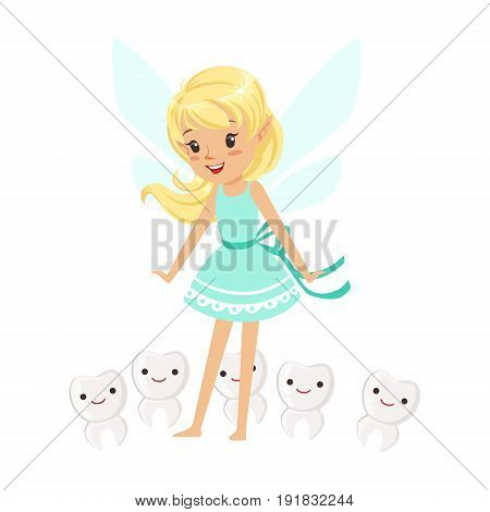 Beautiful sweet blonde Tooth Fairy girl standing surrounded by smiling teeth colorful cartoon character vector Illustration isolated on a white background
