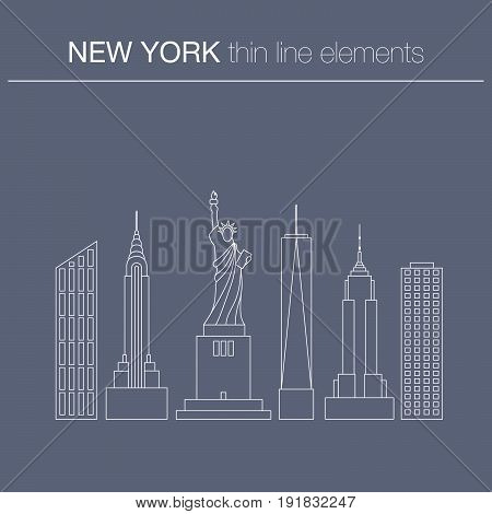 Vector thin line llustration of  typical  city buildings  of New York