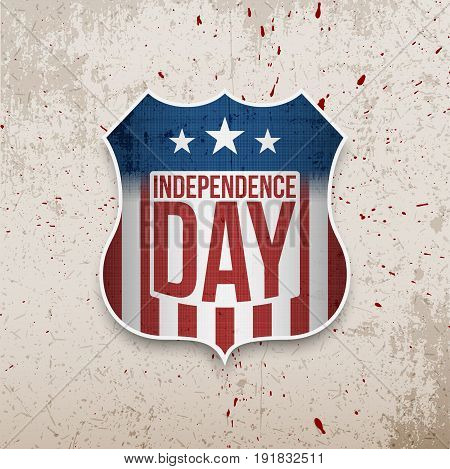 Happy Independence Day United States of America vector Shield on grunge Background