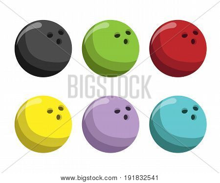 Set different bowling balls color. Bowling ball icon. Vector stock.