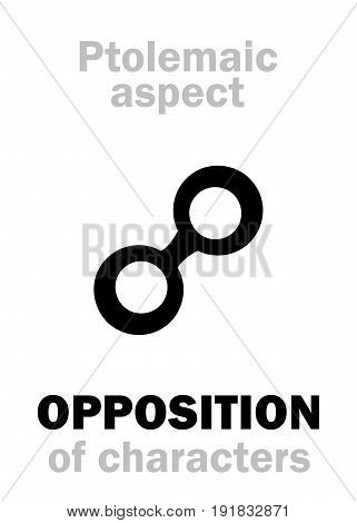 Astrology Alphabet: OPPOSITION (180 deg.) of characteristics, classic major Ptolemaic aspect. Hieroglyphics character sign (single symbol).