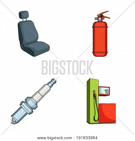 Chair with headrest, fire extinguisher, car candle, petrol station, Car set collection icons in cartoon style vector symbol stock illustration .
