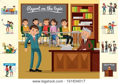 Colorful education concept with students at seminar having rest time studying learning making selfie and celebrating graduation vector illustration