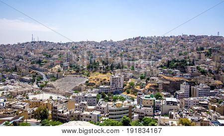 Beautiful panoramic view of Amman in Jordan