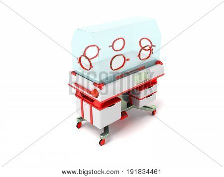 Incubator For Children Red Perspective 3D Render On A White Background