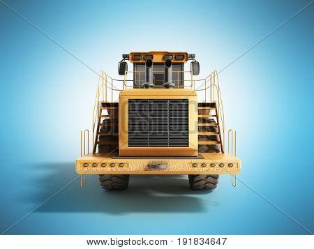 Yellow Wheels Bulldozer 3D Render On Blue