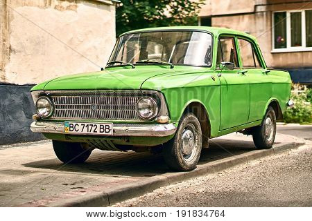 Lviv, Ukraine: June 16 2017 - Green Moskvitch 412 Izh-412 , a small family car by Soviet Russian manufacturer MZMA AZLK 1967 to 1975 parked on the street.
