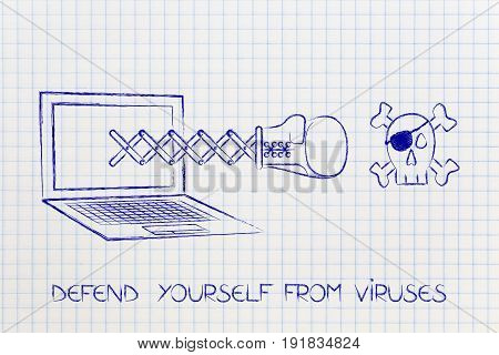 Laptop With Boxing Glove Punching A Pirate Skull