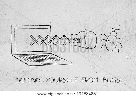 Laptop With Boxing Glove Punching A Bug