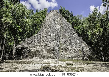 Nohoch Mul at Coba, the biggest mayan pyramid in southern Mexico