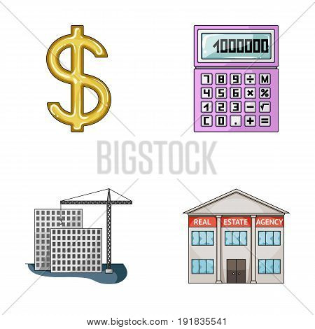 Calculator, dollar sign, new building, real estate offices. Realtor set collection icons in cartoon style vector symbol stock illustration .
