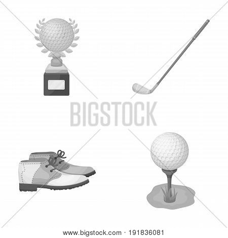 Cup, golf club, ball on the stand, golfer shoes.Golf club set collection icons in monochrome style vector symbol stock illustration .