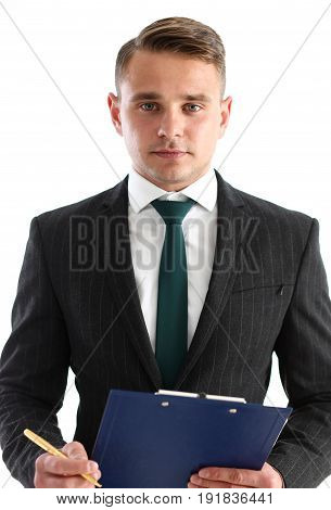 Handsome Smiling Man In Suit And Tie Hold In Hands Clipboard