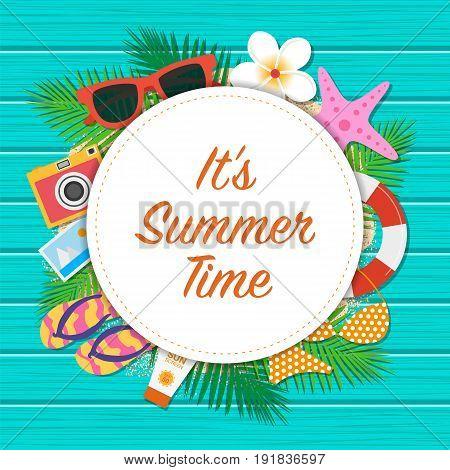 It's Summer Time Background. Summer Template Design. Vector Illustration.
