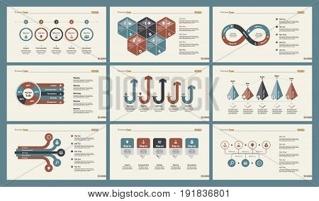 Infographic design set can be used for workflow layout, diagram, annual report, presentation, web design. Business and accounting concept with process, percentage, timing and bar charts.