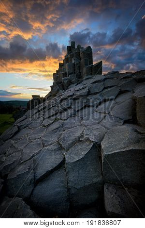 Amazing Chambermaid Rock During Fiery Sunset, Central Bohemian Uplands, Czech Republic.