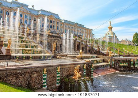 Grand Cascade Fountains At Peterhof Palace, St. Petersburg. This image can be used to represent garden and fountain design. It could also represent travel destination or the life of the Russian Czars.