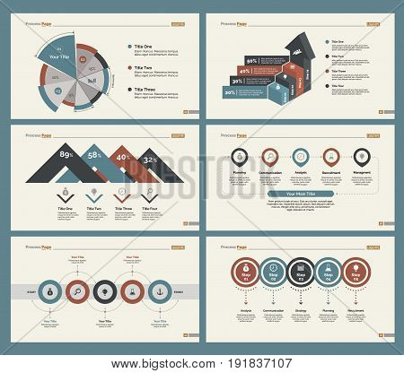 Infographic design set can be used for workflow layout, diagram, annual report, presentation, web design. Business and marketing concept with process, percentage, pie and bar charts.