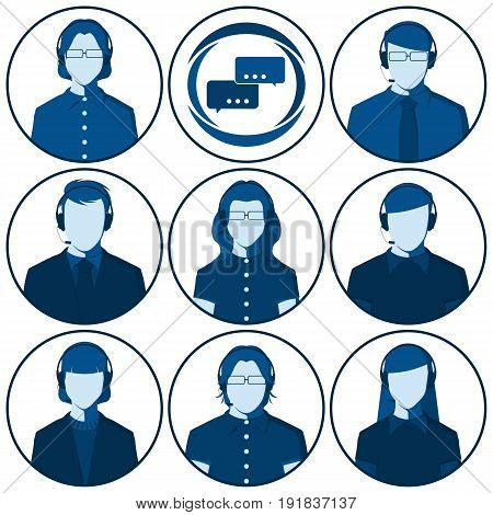 Customer service representative - set of flat vector avatars of men and women with headset. Male and female silhouettes of call center operators for user profile picture.