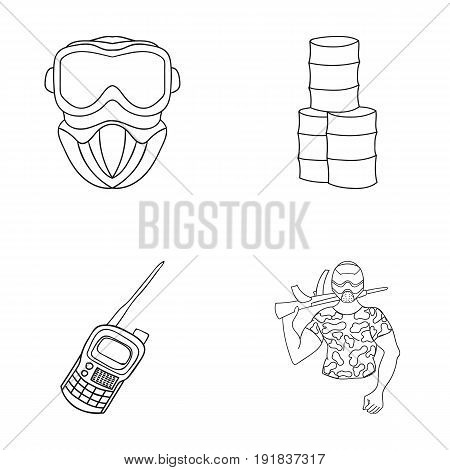 Equipment, mask, barrel, barricade .Paintball set collection icons in outline style vector symbol stock illustration .
