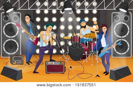 Rock band on the stage. Musical group cartoon vector illustration