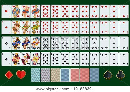 Poker cards full set with isolated cards on green background.