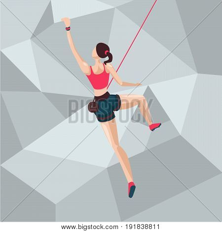 Back view of a sport girl on a climbing wall. Cartoon character illustration.