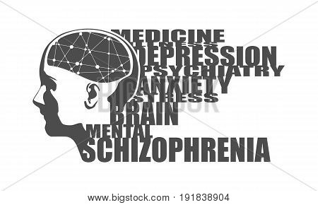 Abstract illustration of a human head with brain. Woman face silhouette. Medical theme creative concept. Connected lines with dots. Schizophrenia disease tags cloud